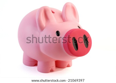 Pink Piggy bank/money box isolated on white - stock photo