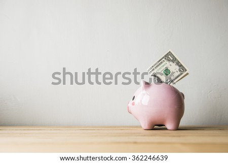 Pink piggy bank on a white background - stock photo