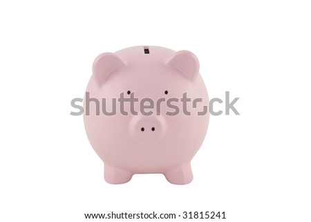 Pink piggy bank on a white background with clipping path