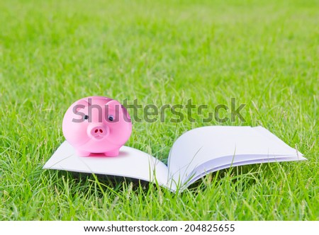 Pink piggy bank on booklet for concepts in design work - stock photo