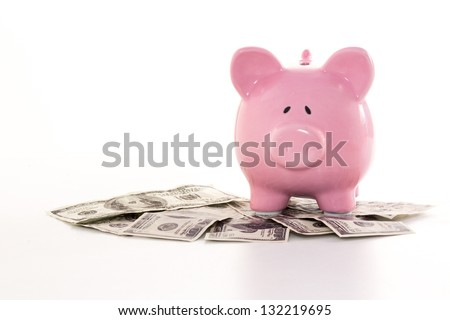 Pink piggy bank on dollars on white background