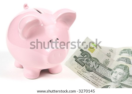 Pink Piggy Bank on isoalted on white background with twenty dollars bills - money - stock photo