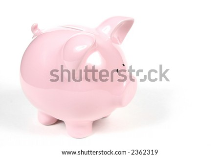 Pink Piggy Bank on isolated on white background - stock photo