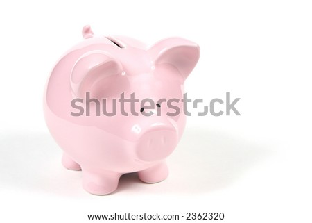 Pink Piggy Bank on isolated on white background