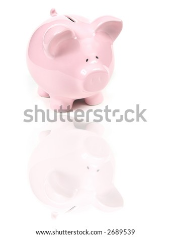 Pink Piggy Bank on isolated on white background with reflexion - stock photo