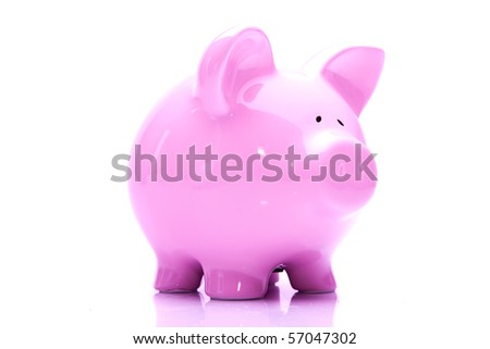 Pink piggy bank on isolated white background