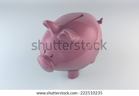 Pink piggy bank on white background/Pink piggy bank