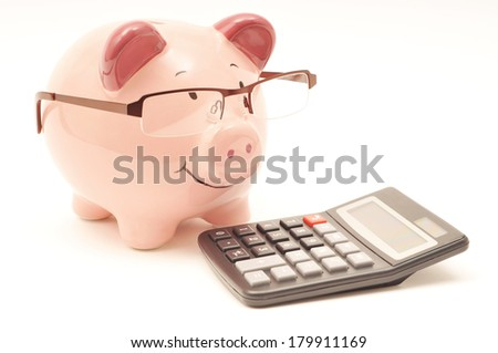 Pink Piggy Bank With Calculator - stock photo