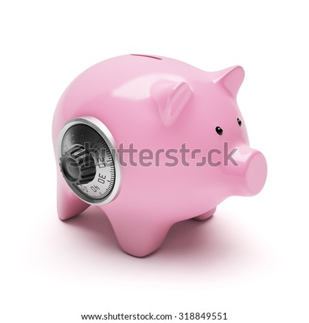 Pink piggy bank with code lock isolated on white - stock photo