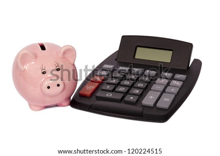 Pink piggy bank with digital calculator.  Isolated on white.  Studio shot.