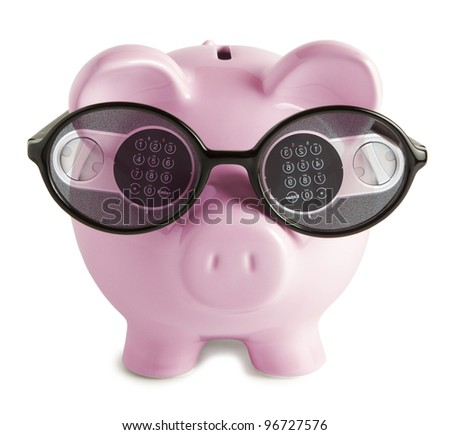 Pink piggy bank with.  Digital lock in  glasses - stock photo