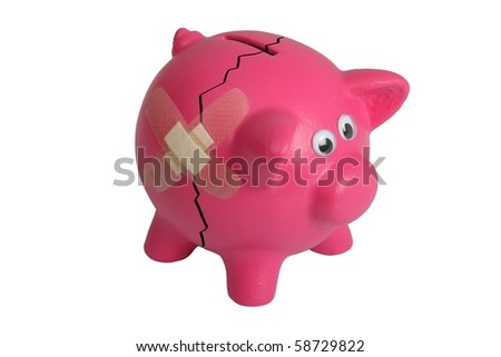 Pink piggy bank with eyes and and bandaged crack - isolated - stock photo