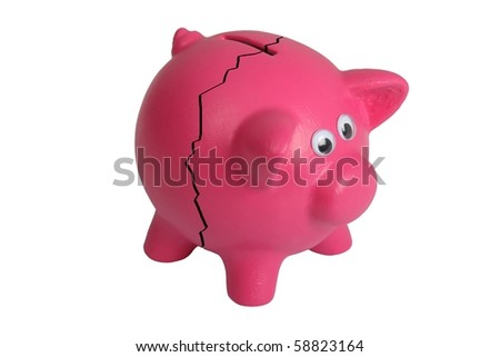 Pink piggy bank with eyes and and crack - isolated - stock photo