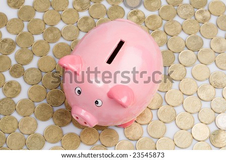 Pink piggy-bank with many currencies outside