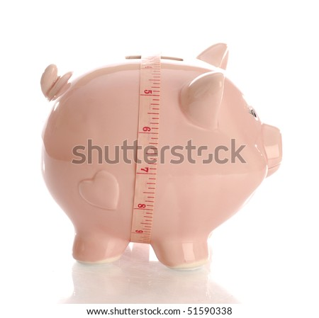 pink piggy bank with measuring tape with reflection on white background - stock photo