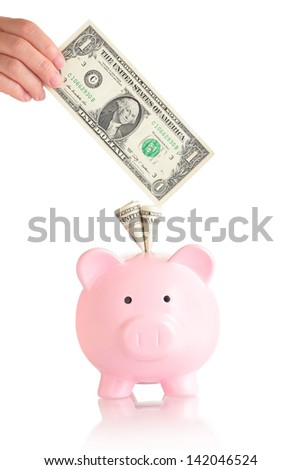 pink piggy bank  with money ( usa one Dollar banknotes )