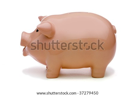 Pink piggy bank with soft shadow isolated against white background with clipping path. - stock photo