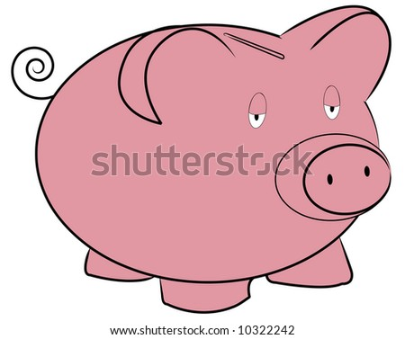 pink piggy bank with tired expression