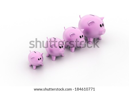 Pink piggy banks increasing in size - stock photo