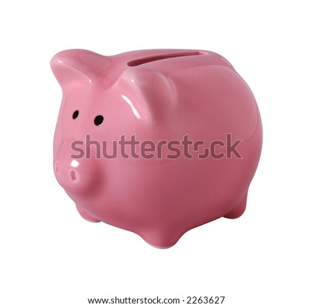 Pink piggybank made of ceramic isolated on white with clipping path