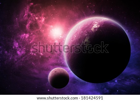 Pink Planet - Elements of This Image Furnished By NASA - stock photo