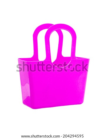 Pink plastic bag isolated on white background. - stock photo