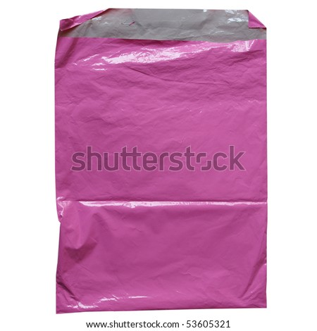 Pink plastic bag isolated over white background