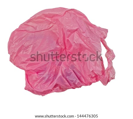 pink plastic bag on a white background. - stock photo