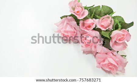 Pink plastic flowers placed on white stock photo royalty free pink plastic flowers placed on a white background mightylinksfo