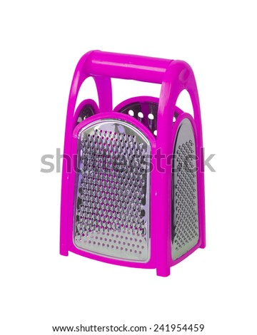 Pink plastic grater. isolated on white background - stock photo