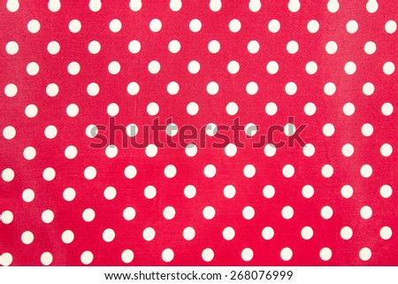 pink polka dot fabric background - stock photo