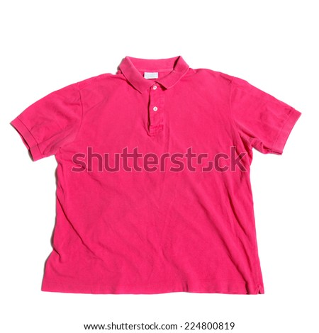 Pink polo shirt on a white background - stock photo