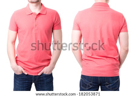 Pink polo shirt on a young man template on white background - stock photo