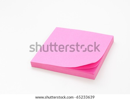 Pink Post-it note - stock photo