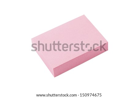 Pink post it note isolated on white background