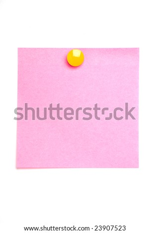 Pink post it note isolated on white with yellow drawing pin - stock photo