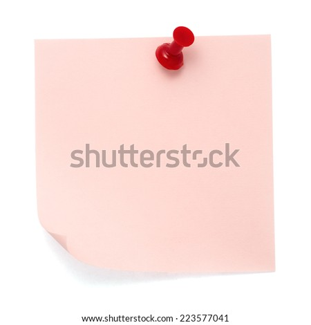 Pink post-it note pinned on a pure white background. Waiting for your message. - stock photo