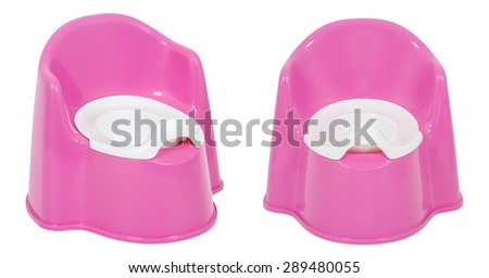 Pink pot on a white background