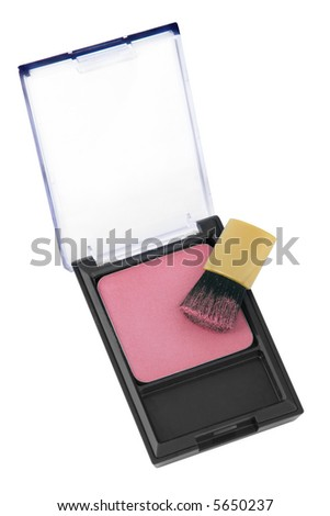 Pink powder cosmetic isolated on white background