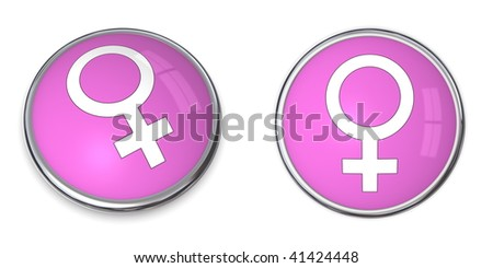 pink-purple button with white female gender sign/symbol - stock photo