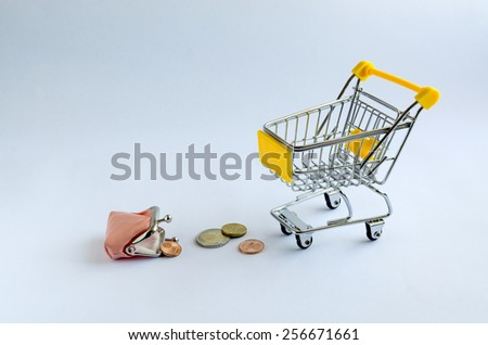 pink purse with cents in shopping trolleys. - stock photo