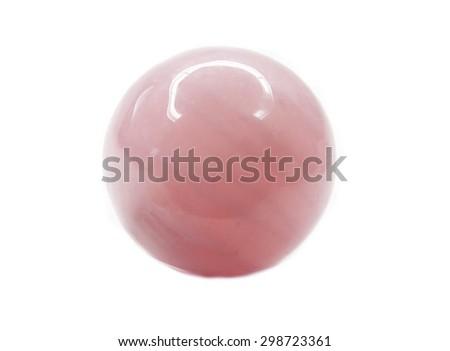 pink quartz semigem geological crystal isolated - stock photo