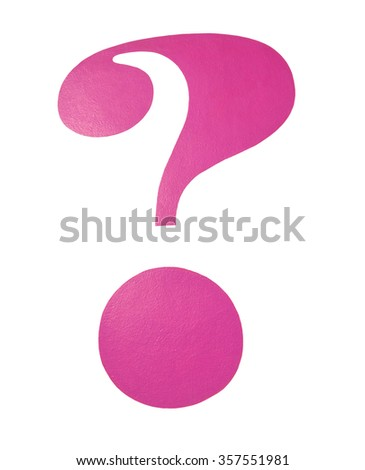 Pink question mark figure isolated on white.