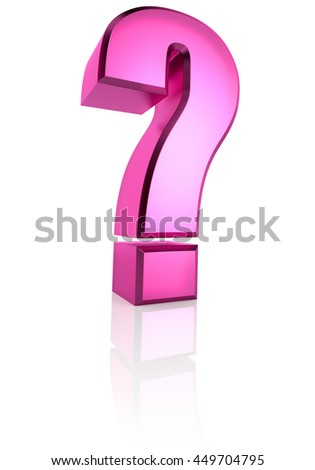 Pink question symbol isolated on white background. 3d renderering - stock photo