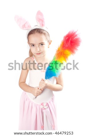 Pink rabbit-girl - stock photo
