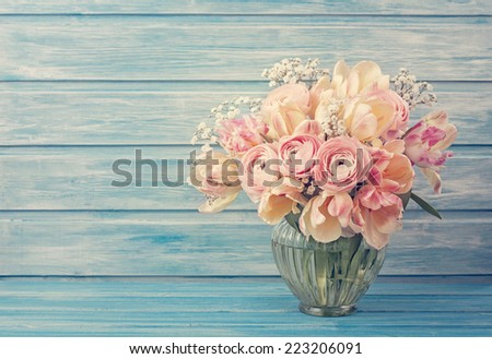 Pink ranunculus flowers on a blue wooden background - stock photo