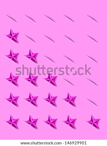 Pink Ratings Star Indicator on Pocket. 1 to 5 Rate. - stock photo