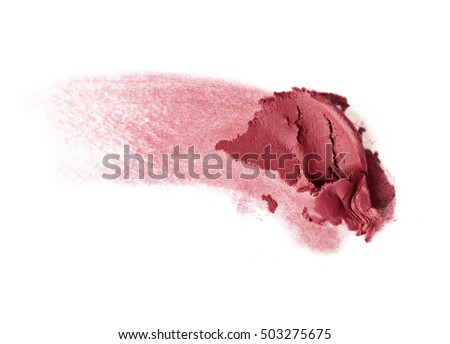 pink red creamy blush smudge on white background