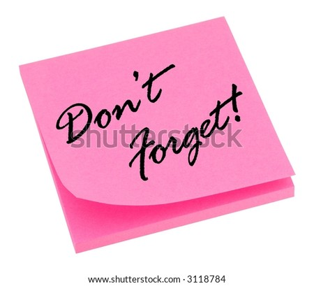 Pink reminder memo isolated on white.