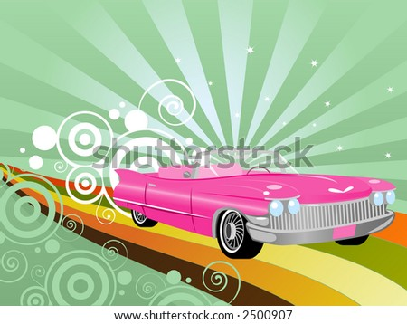 Pink retro convertible on a rainbow road - stock photo